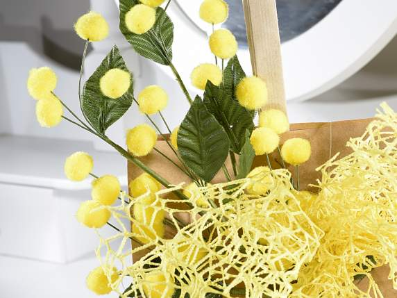 Rametto di mimosa artificiale con fiore in floccato