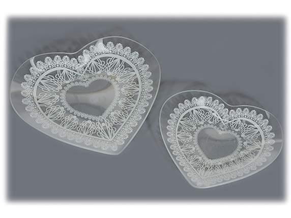 Set 2 piatti a cuore in vetro con stampa a pizzo (80.13.13) - Art From ...