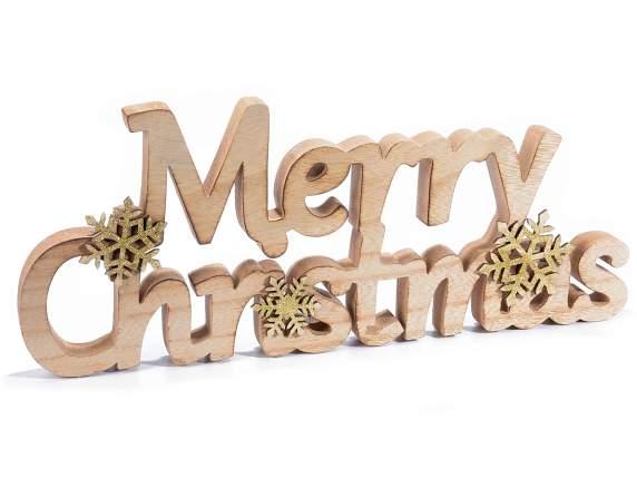 scritta merry christmas in legno con fiocchi di neve