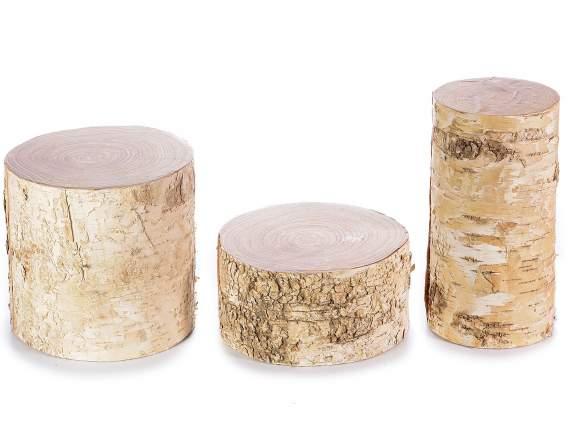 Set tronchetti decorativi in legno effetto betulla