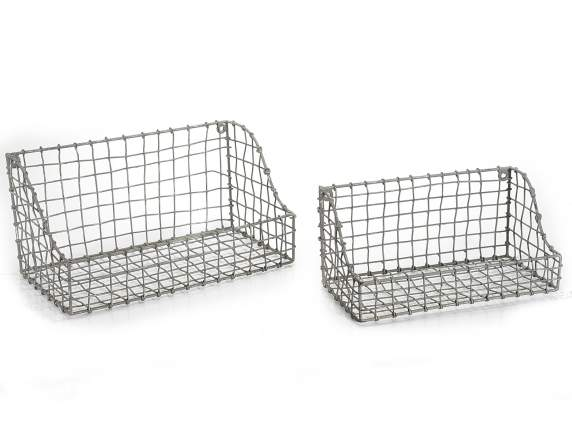 Set 2 wall basket in iron