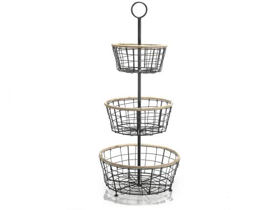 3-tier iron fruit basket with edge in wood