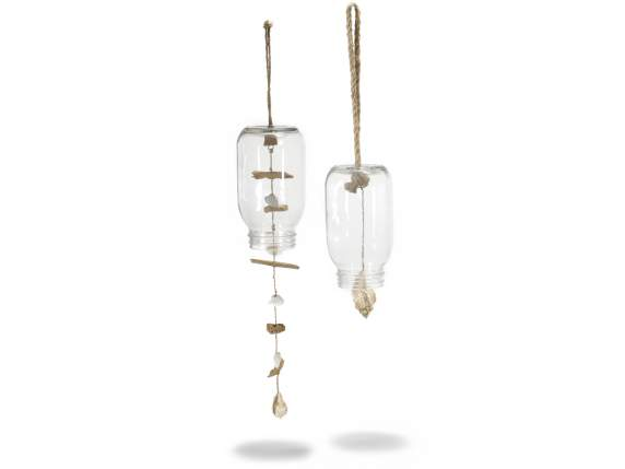 Hanging glass jars w-shells