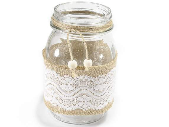 Glass jar with lace and jute covering