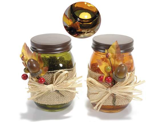 Coloured jars in glass w-jute and branch