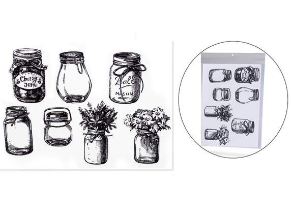 Decorative wall decals with jars