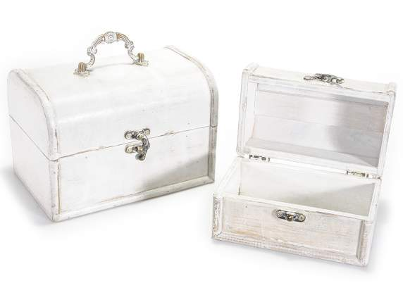 Set of 2 white wooden vintage jewel cases