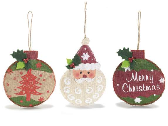 Christmas decorations in jute to hang