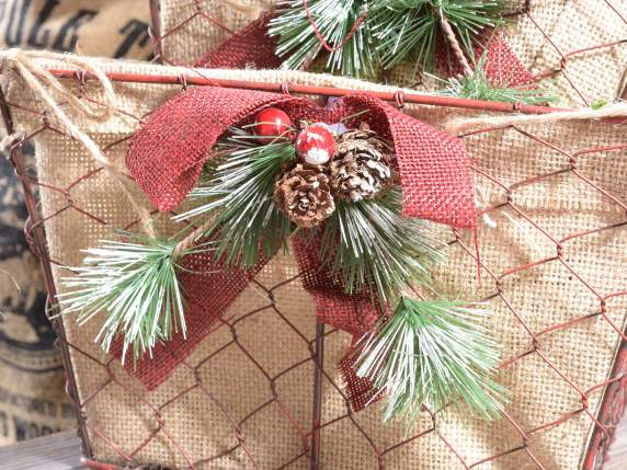 Set 2 square jute baskets with Christmas decorations