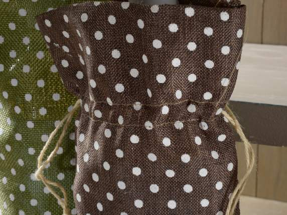 Bottle bags in coloured jute with polka dot