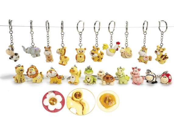 Metal key rings w-resin pet and yellow stone