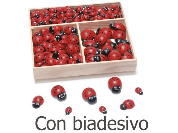 Box of 288 wooden ladybirds in 3 sizes with bi-adhesive