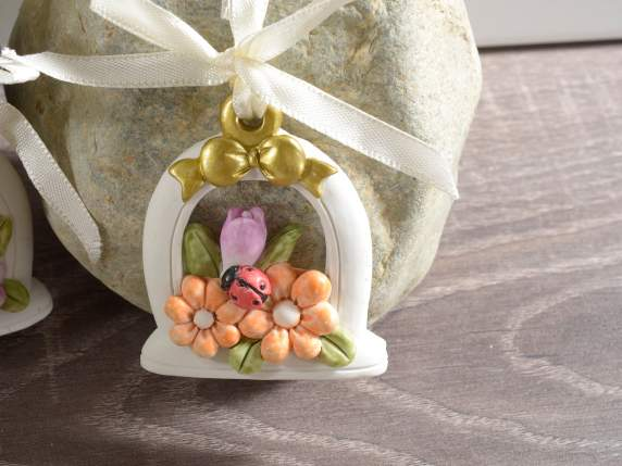 Resin hanging decorations w-flowers and ladybug