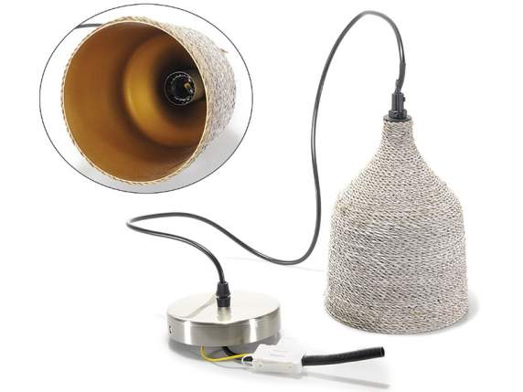 Pendant lamp w-natural fiber coating
