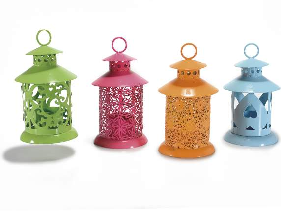 Colored lanterns candle holders in metal