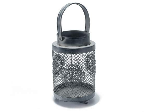 Gray metal rounds lanterns for candles