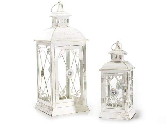 Set 2 metal white lanterns w-gold reflexes and stone