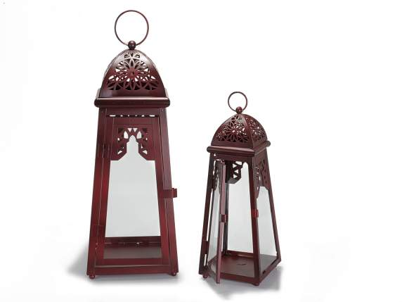 Set 2 red metal lanterns