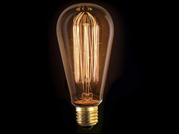 Vintage lengthened light bulb with vertical filaments