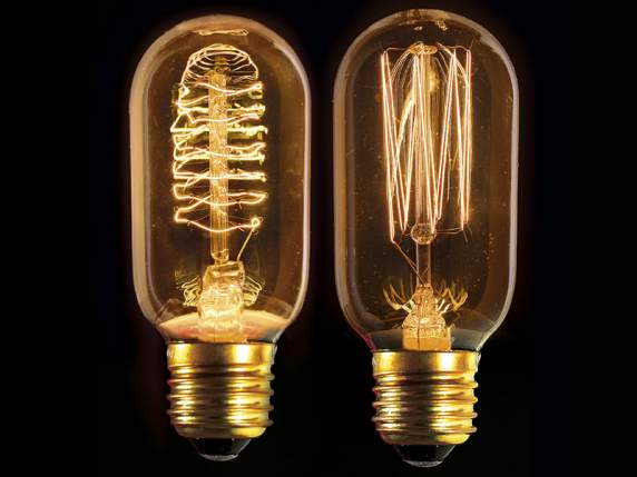 Cylindrical light bulb w-assorted filaments