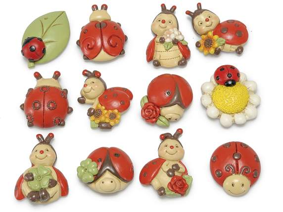 Ladybug lucky charm in resin w-magnet
