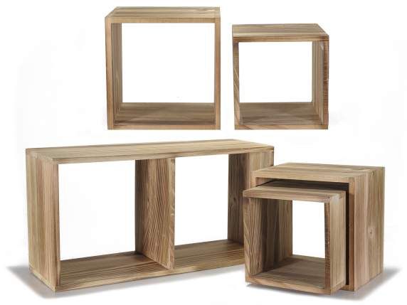 Set of 5 cube square wooden shelf