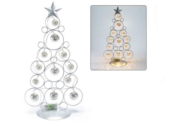 Christmas tree in metal with balls and led light