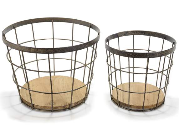 Set 2 round metal baskets with wooden base