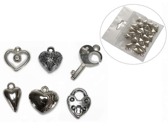Package of 24 metal decoration heart shaped