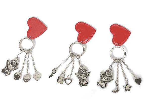 Key rings in metal with red heart and angel
