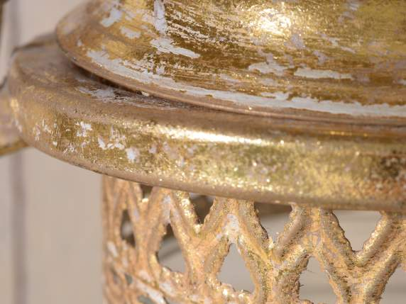 Round lamp lanterns in golden metal and glass
