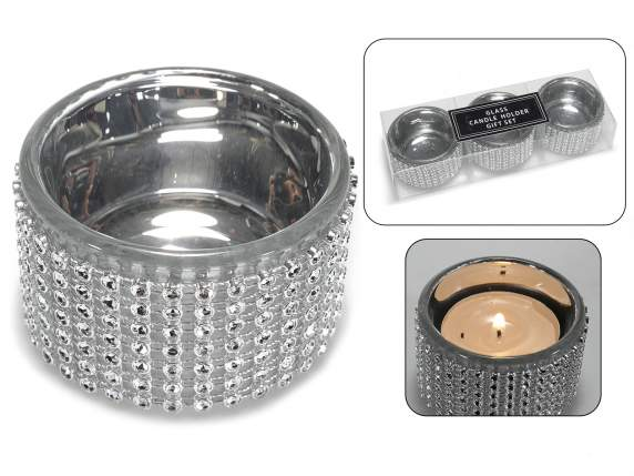 Set 3 metal tealights with strass