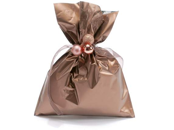 Metallic gift  bag bronze color cm 15x20h
