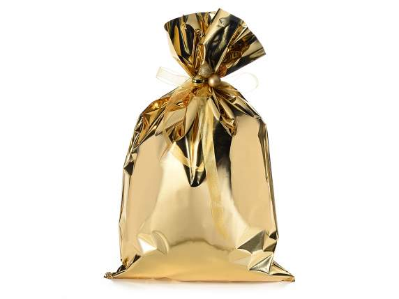 Metallic gift  bag golden color cm 30x50h