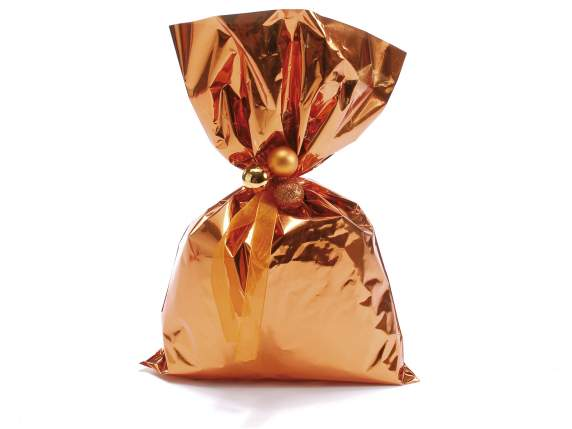 Metallic gift  bag orange color cm 25x40h