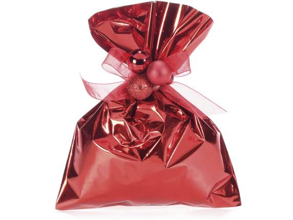 Metallic gift  bag red color cm15x20h