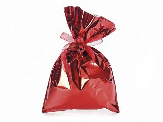 Metallic gift  bag red color cm 20x30 H