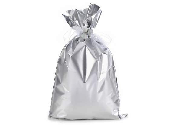 Metallic gift  bag silver color cm 30x50 h