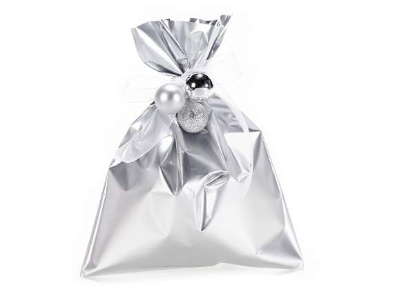 Metallic gift  bag silver color cm 15x20h