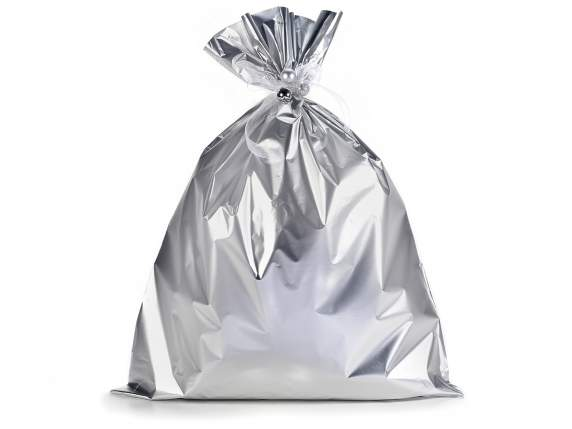 Metallic gift  bag silver color cm 45x60h