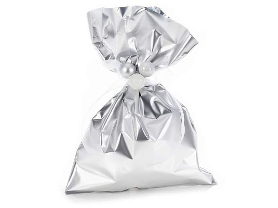 Metallic gift  bag silver color cm 20x30 H