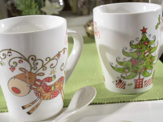 Pottery Christmas mug w-integrated spoon