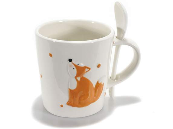 Pottery mug w-Fox decoration and spoon
