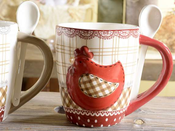 Pottery mugs with spoon and hen decoration