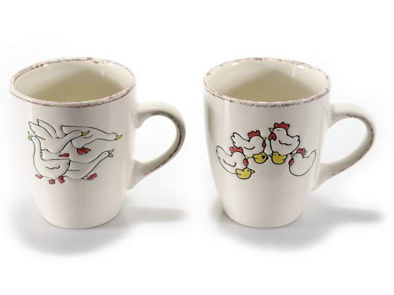 Pottery mug w-decorative ducks and hens