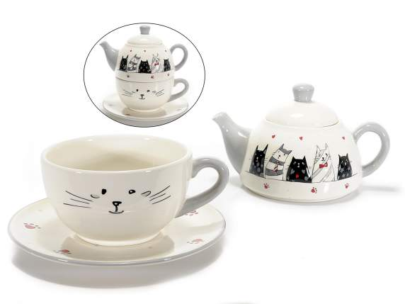 Set ceramic tea for one w-cats decoration in relief