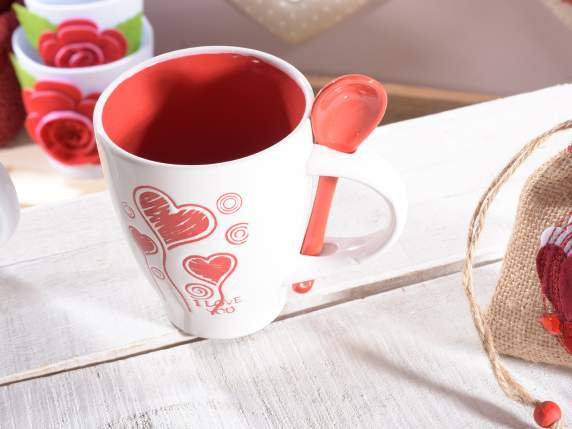 Pottery mug w-heart decoration and teaspoon