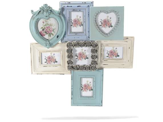 Multiple hanging photo frame in coloured wood