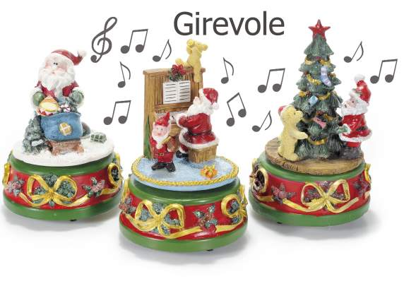 Resin music box w-santa Claus