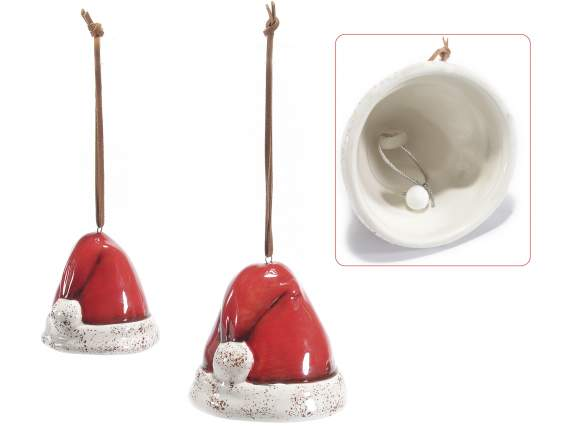 Set of 2 ceramic santa hat bell ornament